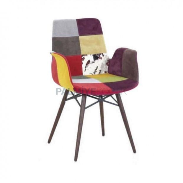 Karışık Renkli Kumaş Döşemeli Kollu Poliüretan Sandalye