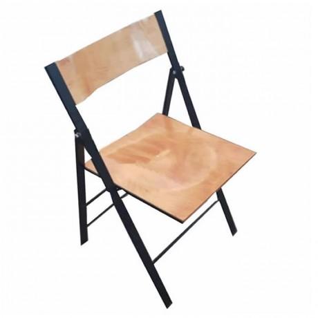 Ahşap Oturma Yüzeyli Metal Katlanır Sandalye