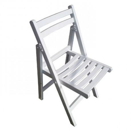 Beyaz Katlanır Ahşap Sandalye - aks01