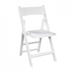 White Lacquered Painted Folding Chair with Cushion
