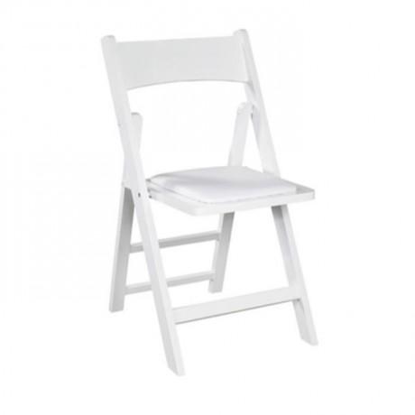 Beyaz Lake Boyalı Minderli Katlanır Sandalye - aks04