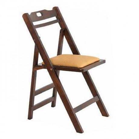 Katlanır Sandalye Ahşap Cilalı Minderli - aks03