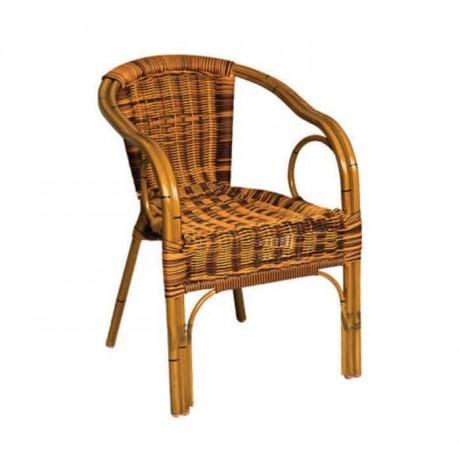 Kırçıllı Hasır Örmeli Kollu Alüminyum Cafe Sandalyesi - alk15
