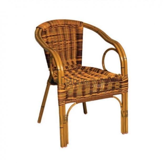 Kırçıllı Hasır Örmeli Kollu Alüminyum Cafe Sandalyesi