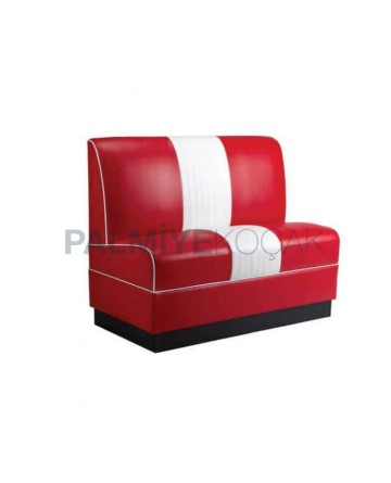 Red White Leather Upholstered Cafe Booths