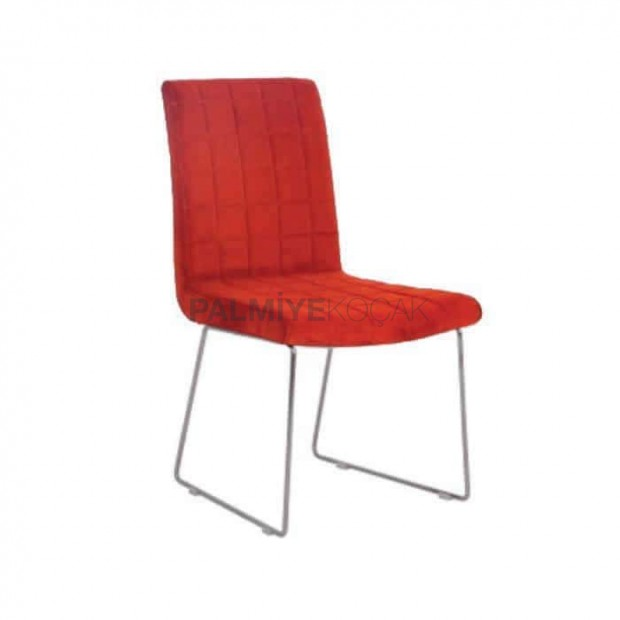 Kırmızı Deri Dilimli Poliüretan Cafe Sandalyesi
