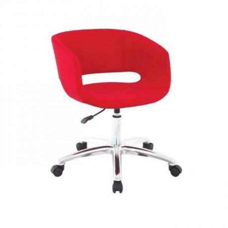 Kırmızı Deri Döşemeli Kollu Poliüretan Sandalye - psd207