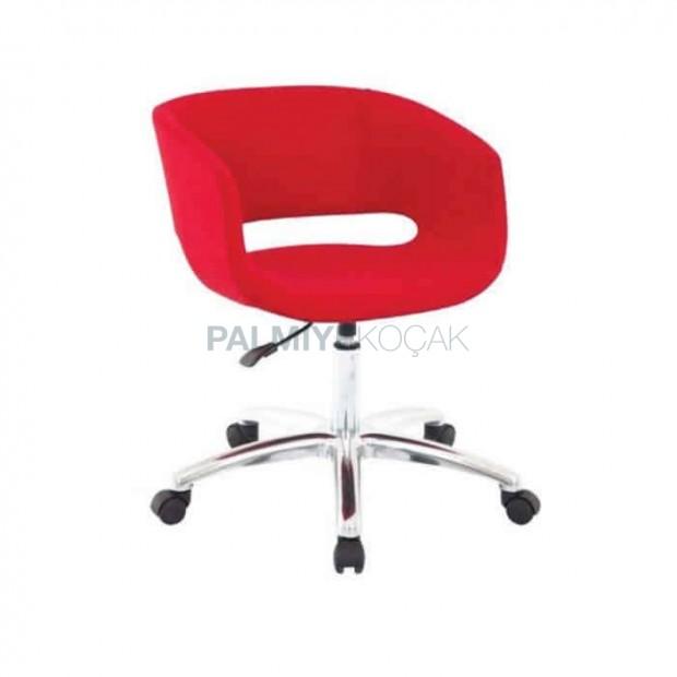 Kırmızı Deri Döşemeli Kollu Poliüretan Sandalye