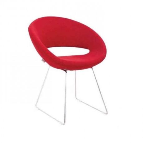 Kırmızı Deri Döşemeli Krom Ayaklı Poliüretan Sandalye - psd203