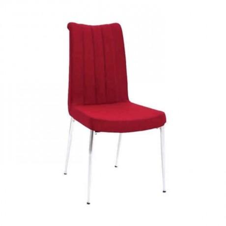 Kırmızı Deri Döşemeli Krom Ayaklı Sandalye - psd238