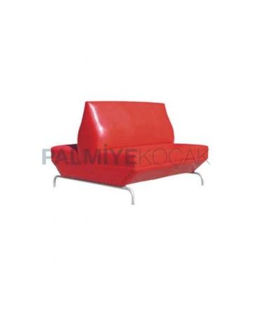 Red Leather Upholstered Metal Leg Cedar
