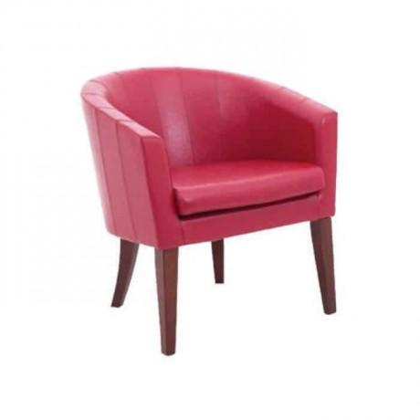 Kırmızı Deri Döşemeli Poliüretan Kollu Otel Sandalyesi - psa651