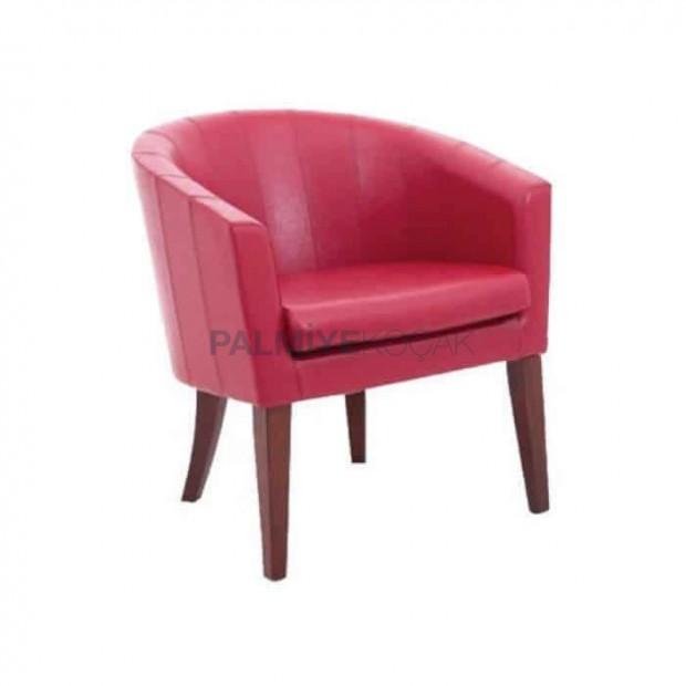 Kırmızı Deri Döşemeli Poliüretan Kollu Otel Sandalyesi