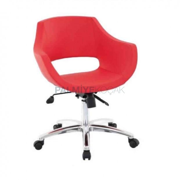 Kırmızı Deri Kollu Tekerlekli Kollu Poliüretan Sandalye
