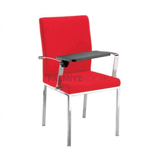 Kırmızı Derili Krom Ayaklı Deskli Sandalye