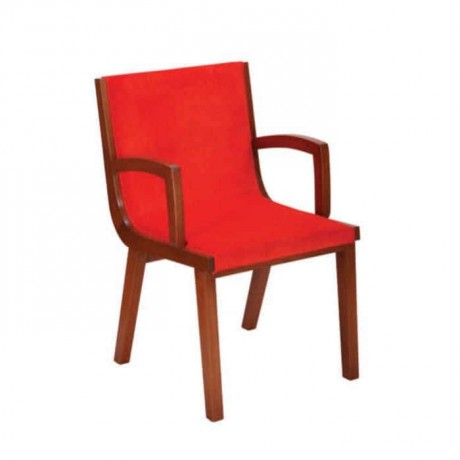Kırmızı Döşemeli Ahşap Kollu Poliüretan Sandalye - psa695