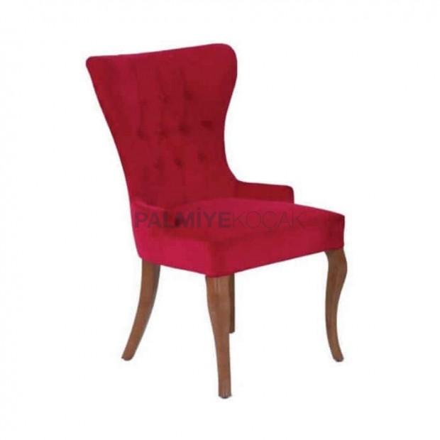 Kırmızı Kapitoneli Poliüretan Cafe Sandalyesi