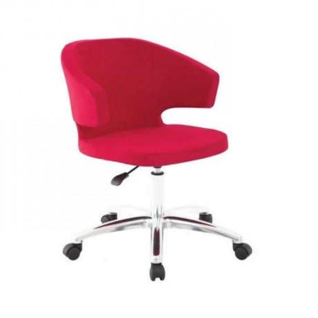 Kırmızı Kollu Tekerlekli Krom Ayaklı Poliüretan Kollu Sandalye - psd226