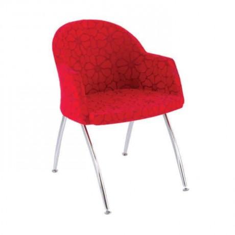 Kırmızı Kumaş Döşemeli Kollu Metal Ayaklı Poliüretan Sandalye - psd216