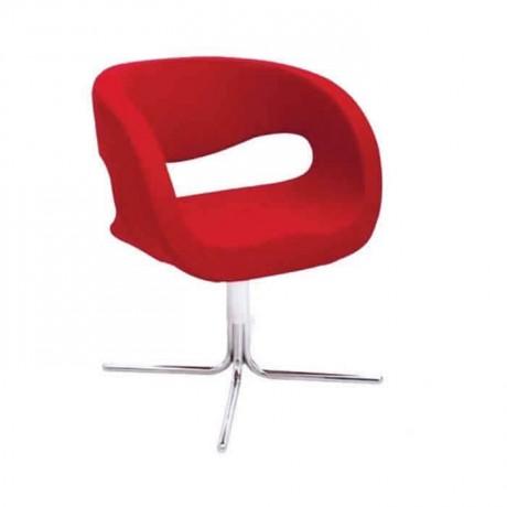 Kırmızı Kumaş Döşemeli Krom Ayaklı Kollu Sandalye - psd205