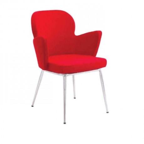 Kırmızı Kumaş Döşemeli Krom Borulu Poliüretan Sandalye - psd225