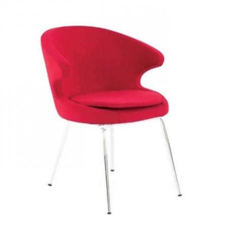 Kırmızı Kumaşlı Krom Ayaklı Poliüretan Kollu Sandalye - psd224
