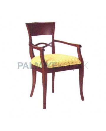 Klasik Ahşap Kollu Sandalye Bej Kumaşlı