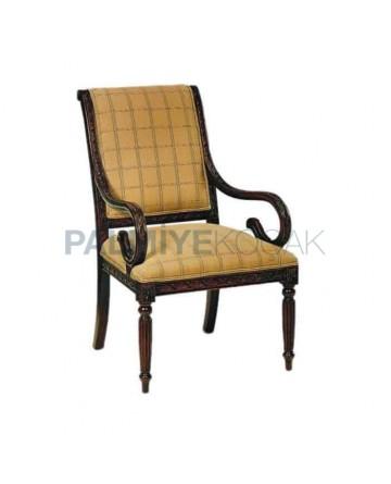 Klasik Ahşap Kollu Sandalye Ceviz Boyalı