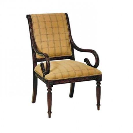 Klasik Ahşap Kollu Sandalye Ceviz Boyalı - ksak08