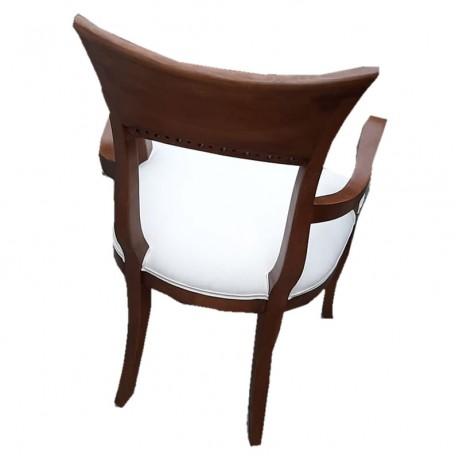 Koyu Eskitme Krem Deri Döşemeli Kollu Ahşap Klasik Sandalye - Ahşap Klasik Kollu Sandalye