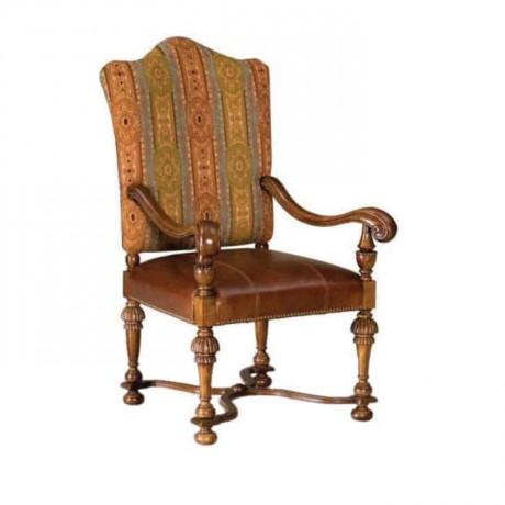 Klasik Kumaş Döşemeli Ahşap Klasik Kollu Sandalye - ksak76