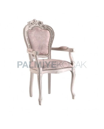 Klasik Oymalı Kollu Salon Sandalyesi