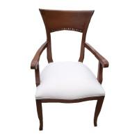 Koyu Eskitme Krem Deri Döşemeli Kollu Ahşap Klasik Sandalye