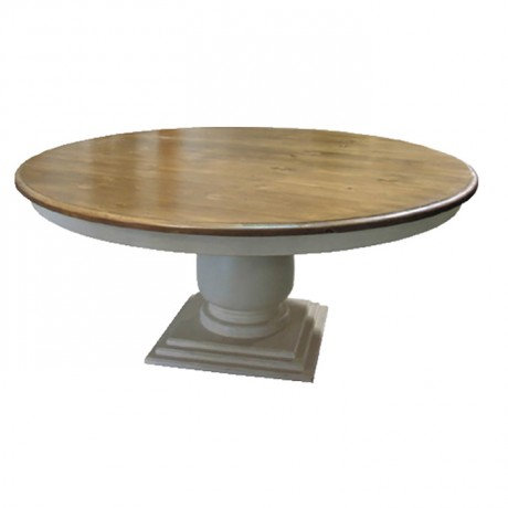 White Lake Leg Wooden Oak Painted Round Classic Table - kym21