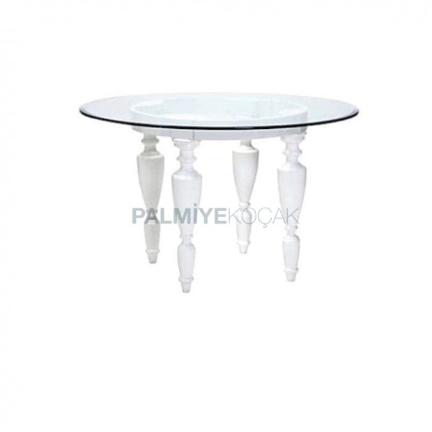Beyaz Lake Boyalı Tornalı Ayaklı Camlı Klasik masa