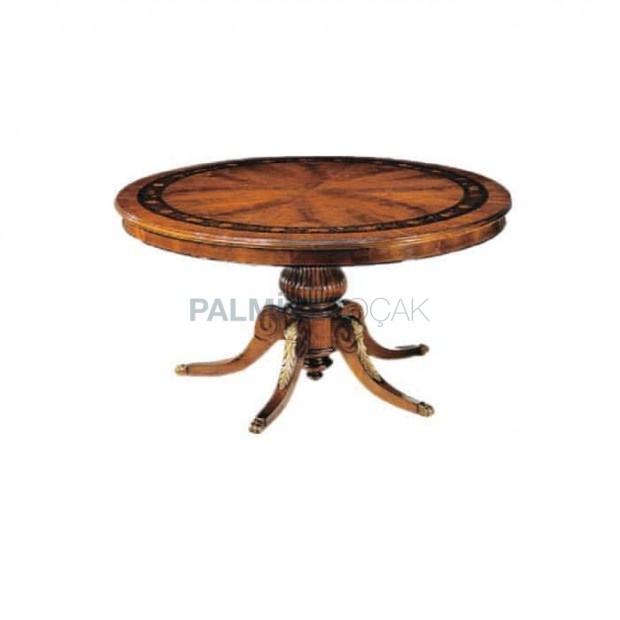 Marquetry Table Top Turned Leg Round Classic Table