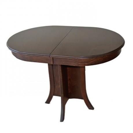 Oval Tablalı Koyu Eskitme Boyalı Masa - kym28
