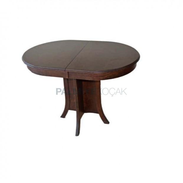 Oval Tablalı Koyu Eskitme Boyalı Masa