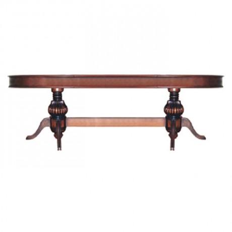 Oval Tablalı Torna Ayaklı Eskitme Boyalı Klasik Salon Masası - kom10