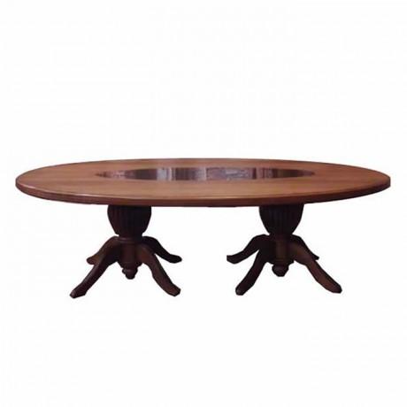 Oval Tablalı Torna Ayaklı Klasik Masa
