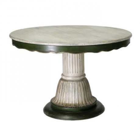 Patina Painted Carved Table Top Turned Leg Table - kym17