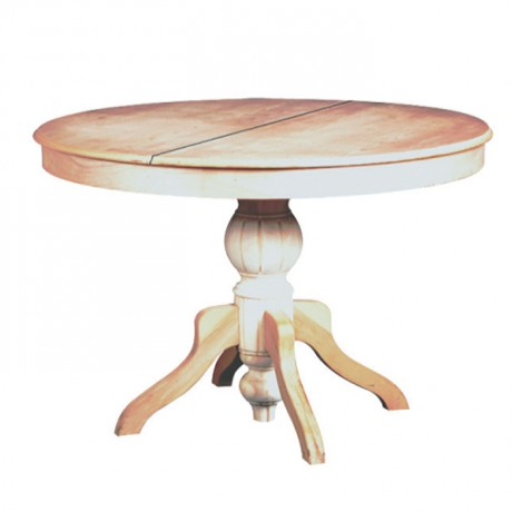 Round Classic Table with Patine Painted Turned Leg - kym07