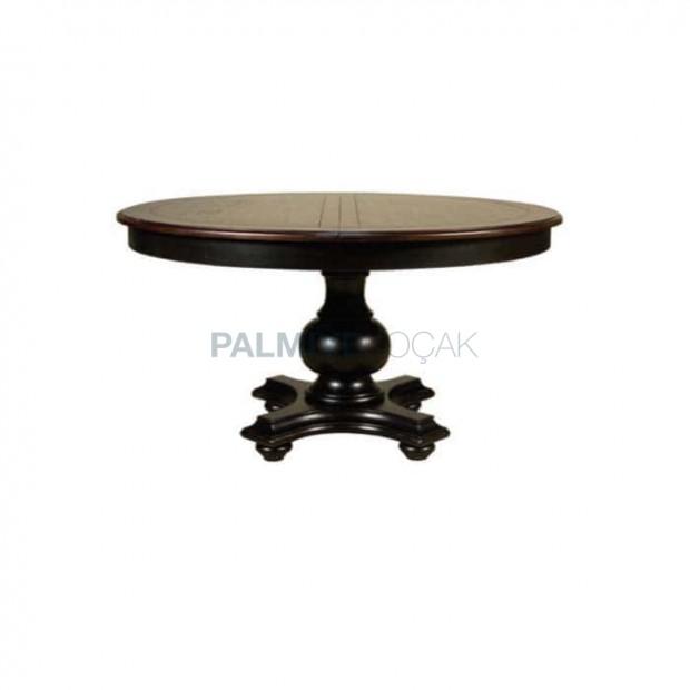 Siyah Boyalı Yuvarlak Tablalı Ortadan Açılır Klasik masa