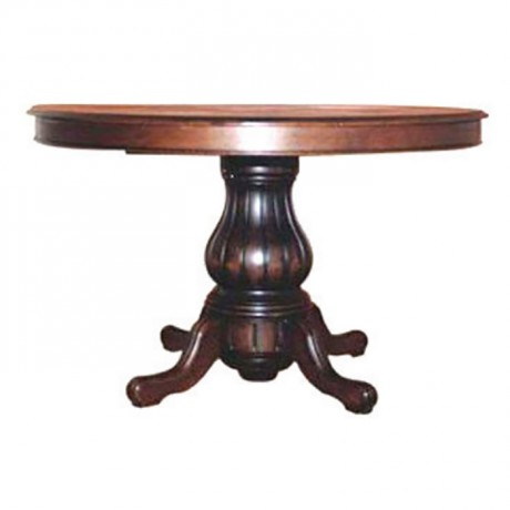 Carved Round Table with Turned Leg - kym04