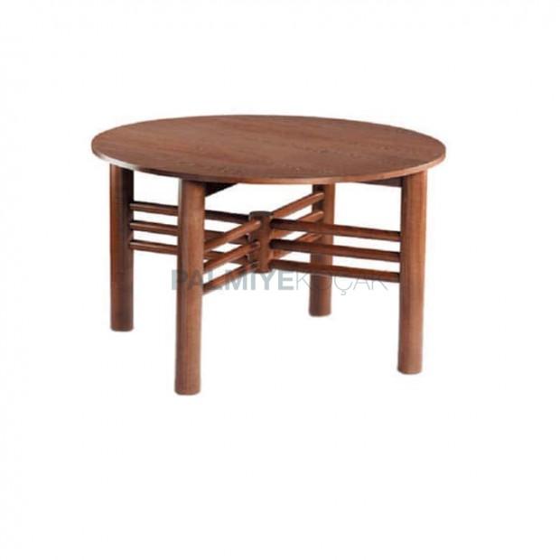 Yuvarlak Tablalı Torna Ayaklı Yemek Salonu Masası