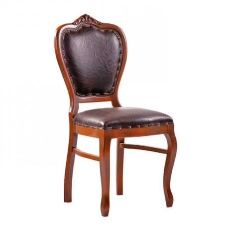 Açık Ceviz Boyalı Siyah Derili Klasik Sandalye - ksa16