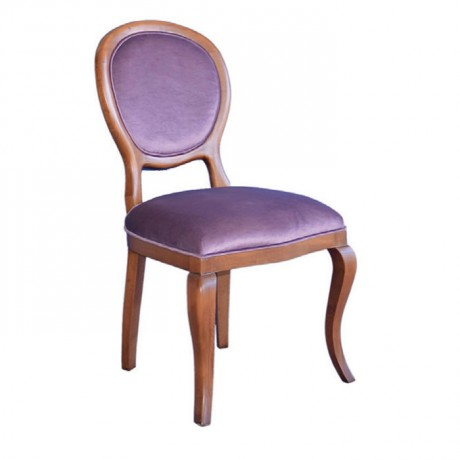 Classic Wooden Antiqued Purple Fabric Upholstered Chair - ksa06