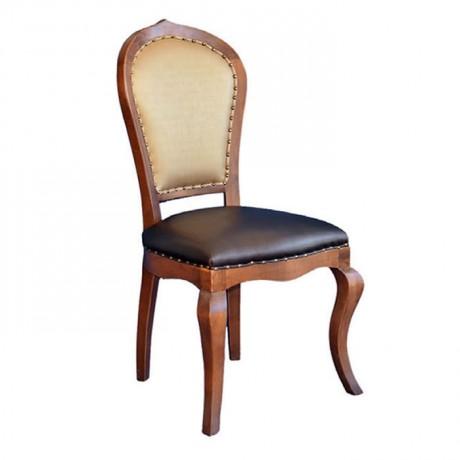 Açık Eskitme, Siyah Deri Döşemeli Ahşap Klasik Sandalye - ksa18