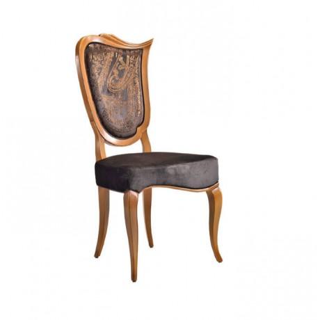 Açık Eskitme Siyah Nubuk Deri Döşemeli Klasik Sandalye - ksa155