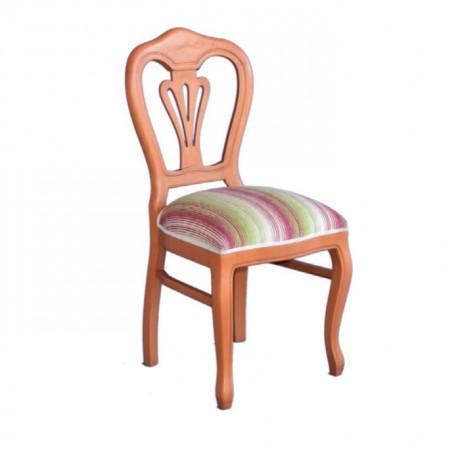 Armut Boya Renkli Desenli Kumaşlı Klasik Ahşap Sandalye - ksa14